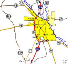 map of hattiesburg ms hattiesburg southeastroads