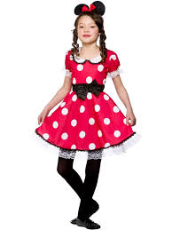 girls kid cute minnie mouse fancy dress costume red white polkadot