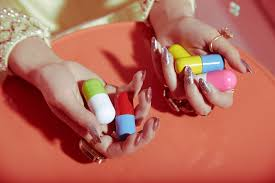 valley of the dolls beauty shoot editorial manicure nails pills