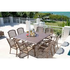 darlee ocean view aluminum 9 piece square patio dining set hayneedle