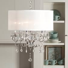 Discount Chandelier Lamp Shades Tribecca Home Silver Mist Hanging Crystal Drum Shade Chandelier