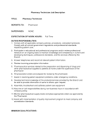 Pharmacy Technician Job Description For Resume by Pharmacy Technician Duties For Resume Free Resume Example And