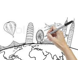 hand drawing the dream travel around the world stock photo