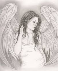 drawn angel sadness pencil and in color drawn angel sadness