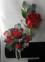 Where To Buy Corsages For Prom Deep Red Roses With Silver And Black Ribbon The Bracelet Is