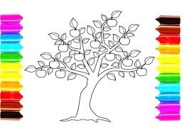 apple tree coloring pages how to draw and color apple tree coloring pages for children youtube