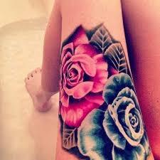 Big Flower Tattoos On - impressive colored big flowers on thigh wf