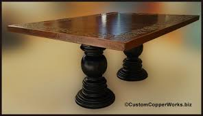 rectangular copper dining table double wood pedestal table base