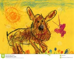 kids drawing of a dog and butterfly stock photo image 19083460
