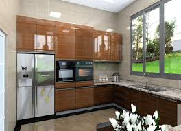 u shape high gloss lacquer kitchen cabinets with granite countertop