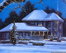 houses house winter christmas scenery painting wallpaper pictures