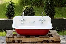cast iron trough sink amazon com 36 antique inspired kohler farm sink incarnadine red