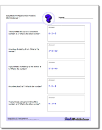 Algebraic Expressions Worksheets 9th Grade Pre Algebra Word Problems