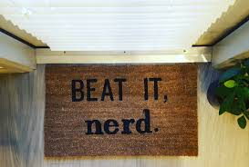 nerdy home decor beat it nerd welcome mat book worm gift science geek