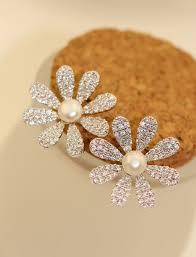 big stud earrings genuine high quality large flowers zircon stud earrings pearl gem