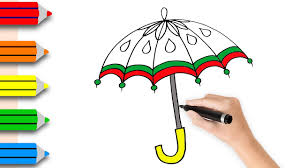 coloring pages umbrella drawing and art colors for kids with