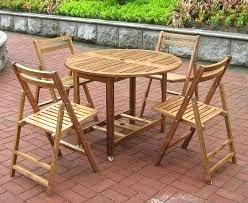 Atlantic Patio Furniture Eucalyptus Outdoor Dining Extension Table And Folding Chairs Round