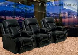 theater seating 3 black leather chairs by catnapper electric