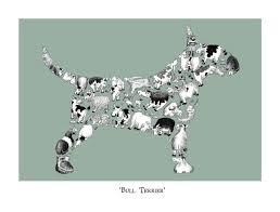 lover gift bull terrier print signed