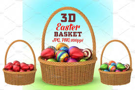 easter egg basket wicker basket with easter eggs 3d graphics creative market