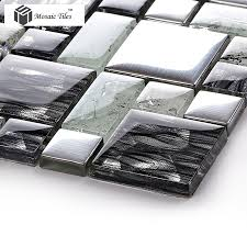 Kitchen With Glass Tile Backsplash Crystal Glass Tile Glossy Mosaics Silver Inner Crackle Grain