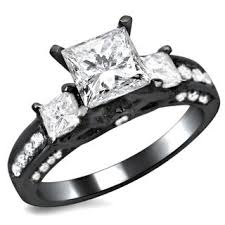 black band engagement rings 14k black gold 1 1 2ct tdw 3 princess cut diamond engagement