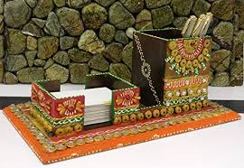 Desk Business Card Holder For Men Rajasthani Handicraft Wooden Kundan U0026 Clay Work Pen Stand Business
