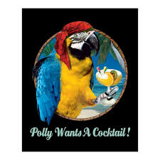 polly wants a cocktail parrot pirate metal sign tropical bar