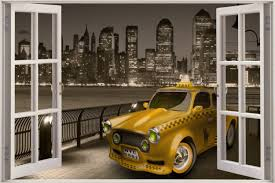 huge 3d window view new york taxi to new jersey wall sticker decal shop categories