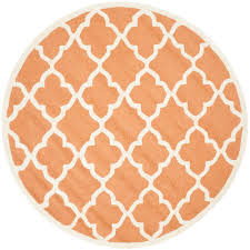 Modern Orange Rugs by Safavieh Cambridge Coral Ivory 6 Ft X 6 Ft Round Area Rug