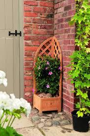 outdoor garden trellis wooden planters satiating flower box
