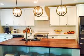 decor dazzling walnut butcher block for kitchen furniture ideas glossy walnut butcher block with white cabinets and pretty lights for kitchen decoration ideas