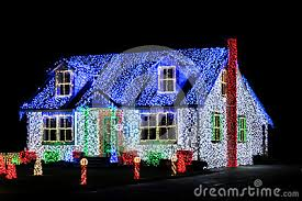 christmas decorations light show christmas lights show display on house at night royalty free stock
