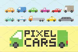pixel car pixel cars set objects creative market