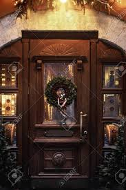 wreath on wooden door luxury decorated store front