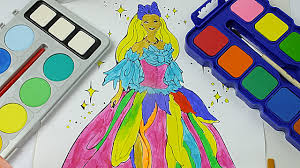 princess barbie watercolor painting coloring pages