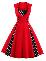 vintage dresses 4xl button embellished polka dot retro dress