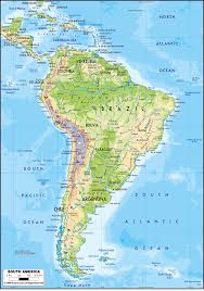 Map Of North America Countries by Large Detailed Physical Map Of South America With Roads Vidiani