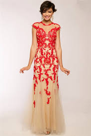 sheath cap sleeve open back champagne tulle red lace applique long