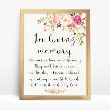 in loving memory wedding sign instant pink floral wedding sign in loving memory