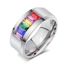 the goods wedding band diamond ring rainbow ring engagement wedding jewelry titanium