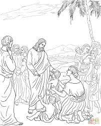 jesus with little children coloring page coloring home