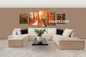 orange livingroom 5 piece scenery orange autumn canvas wall art