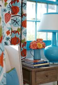 Orange And Blue Curtains Tracery Interiors Amazing Blue And Orange Cottage Bedroom