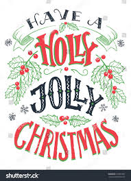 have holly jolly christmas vintage hand stock vector 518991091