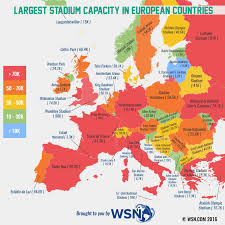 Europe Temperature Map Largest Football Stadium Capacity In Europe Map