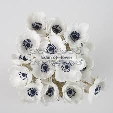 Decorative Flowers by White Anemones Real Touch Flowers Dark Blue Center For Wedding