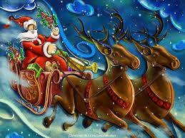 christmas santa flying reindeer sleigh wallpapers download
