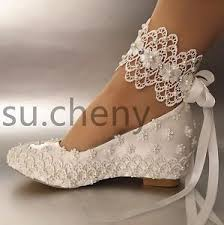 wedding shoes size 11 2 heel wedge white silk satin lace pearl ribbon ankle wedding