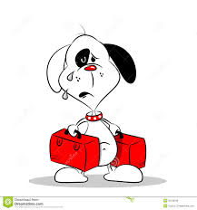 a homesick cartoon dog with luggage royalty free stock photos